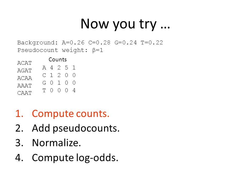 Now you try … Compute counts. Add pseudocounts. Normalize.