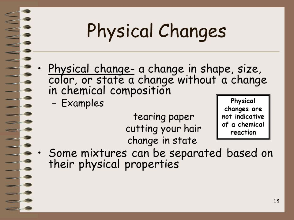 physical and chemical changes specific heat essay Open document below is an essay on physical and chemical properties lab from anti essays, your source for research papers, essays, and term paper examples.