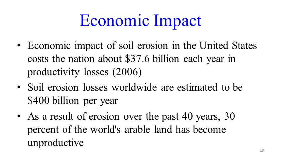 Economic Impact Economic Impact Of Soil Erosion In The United States Costs The Nation About 37 6