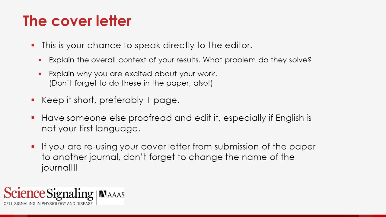 How to get published in science and other high impact journals the cover letter this is your chance to speak directly to the editor madrichimfo Choice Image