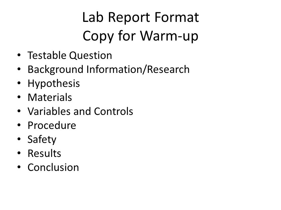 lab report hypothesis