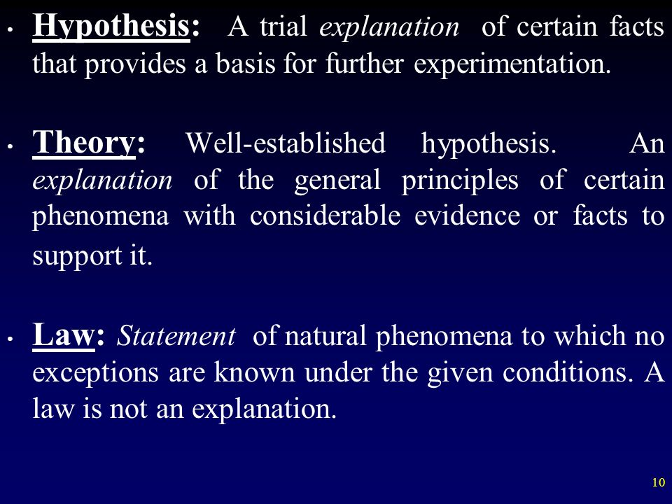 Hypothesis: A trial explanation of certain facts that provides a basis for further experimentation.