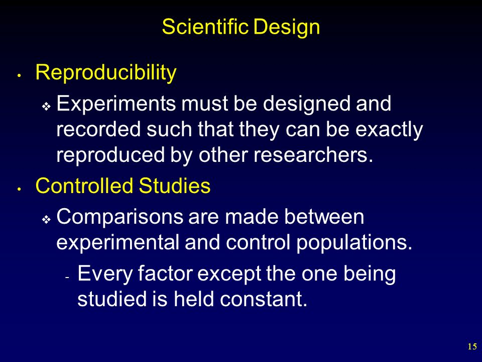 Scientific Design Reproducibility. Experiments must be designed and recorded such that they can be exactly reproduced by other researchers.