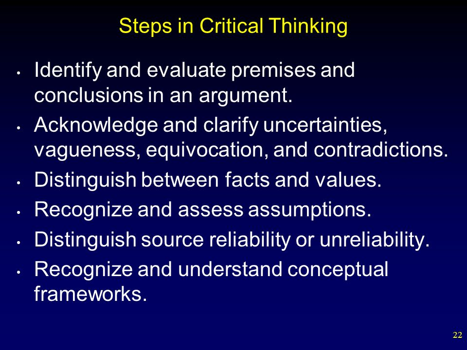 Steps in Critical Thinking