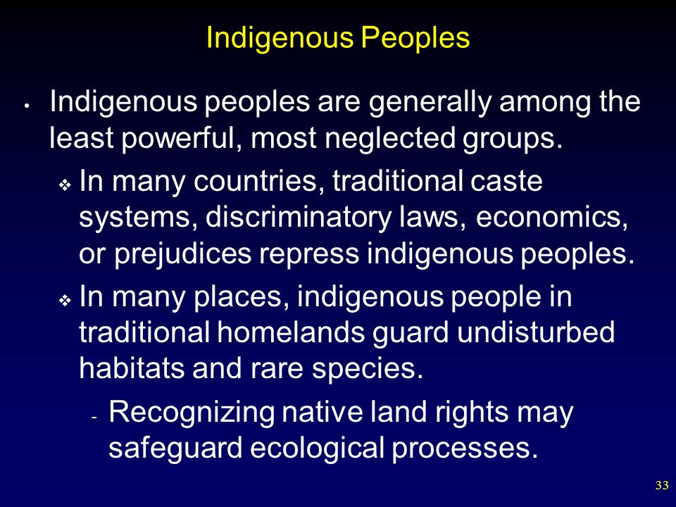 Indigenous Peoples Indigenous peoples are generally among the least powerful, most neglected groups.