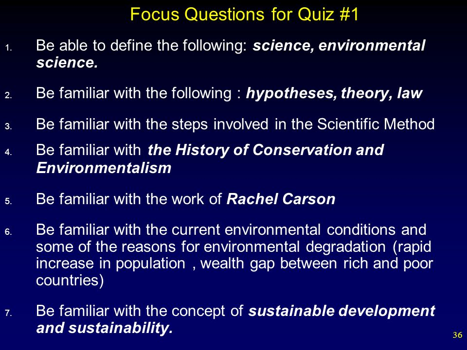 Focus Questions for Quiz #1