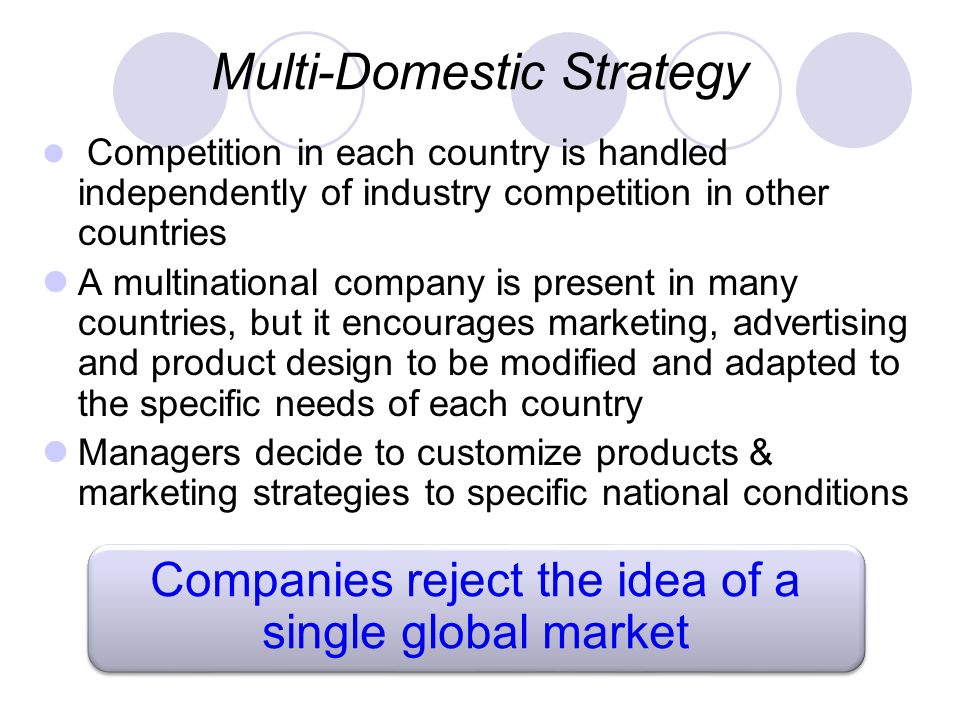 companies that have multi country strategy While expanding one's market and not being dependent on the business cycles of a single country or region sounds like a winning business strategy, there are several potential pitfalls facing companies that attempt to expand across national borders first, there is the problem that you lack expertise outside your own country.