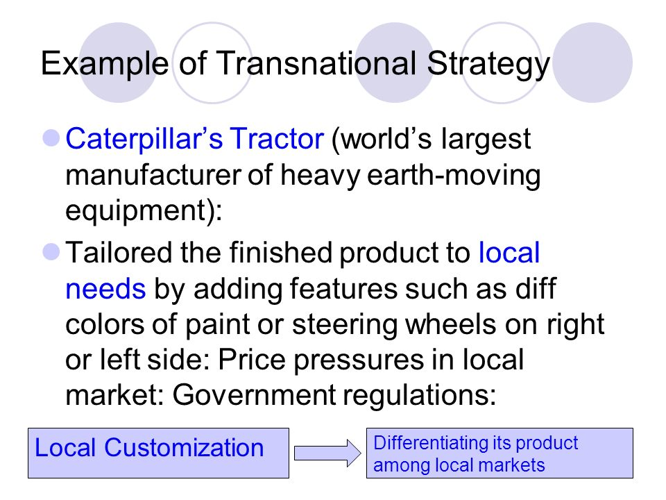 transnational strategy example Transnational organization strategy is a management approach in which an organization integrates its global business activities through cooperation between headquarters and international operations.