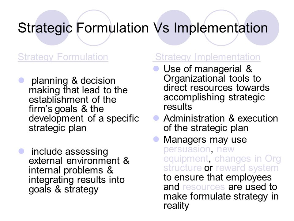 Strategy formulatin and impl