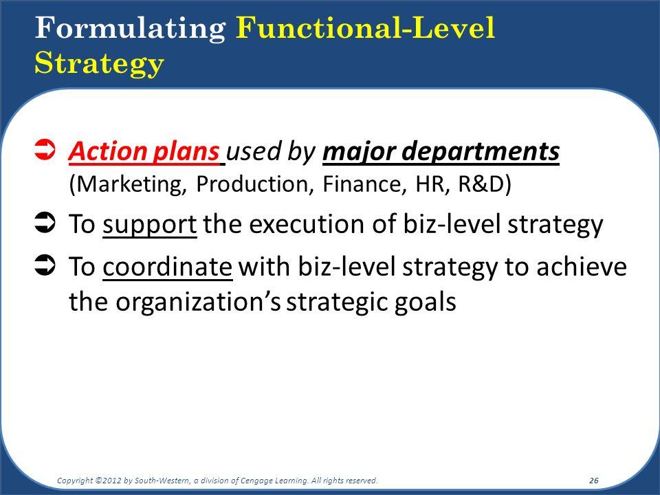 Formulating Functional-Level Strategy