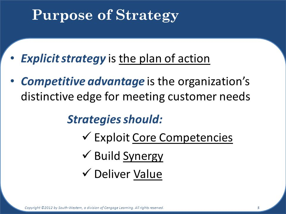 Purpose of Strategy Explicit strategy is the plan of action