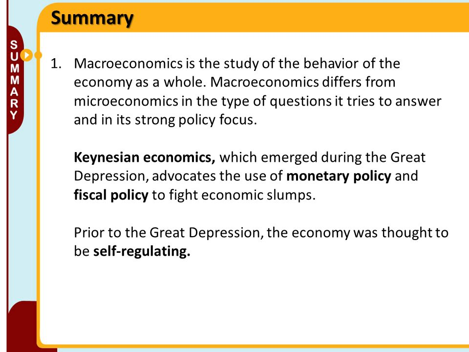 macroeconomics summary Ap macroeconomics studyguide basic terms for economics - economics: the  study of how scarce resources are used to satisfy unlimited wants - resources:.