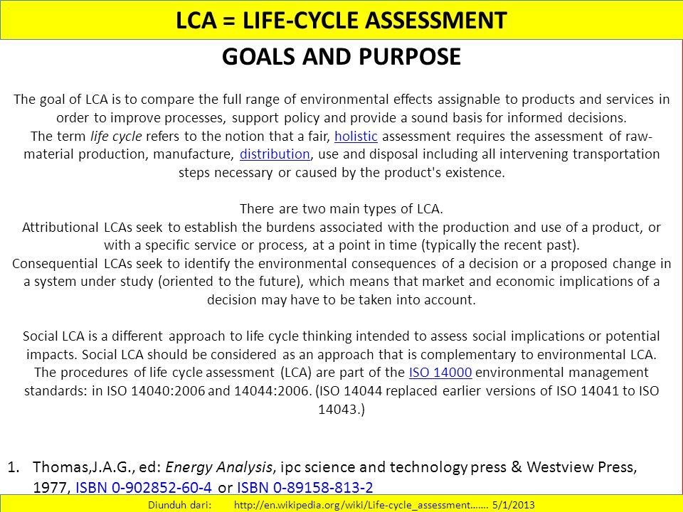 LCA : LIFE CYCLE ANALYSIS - ppt download