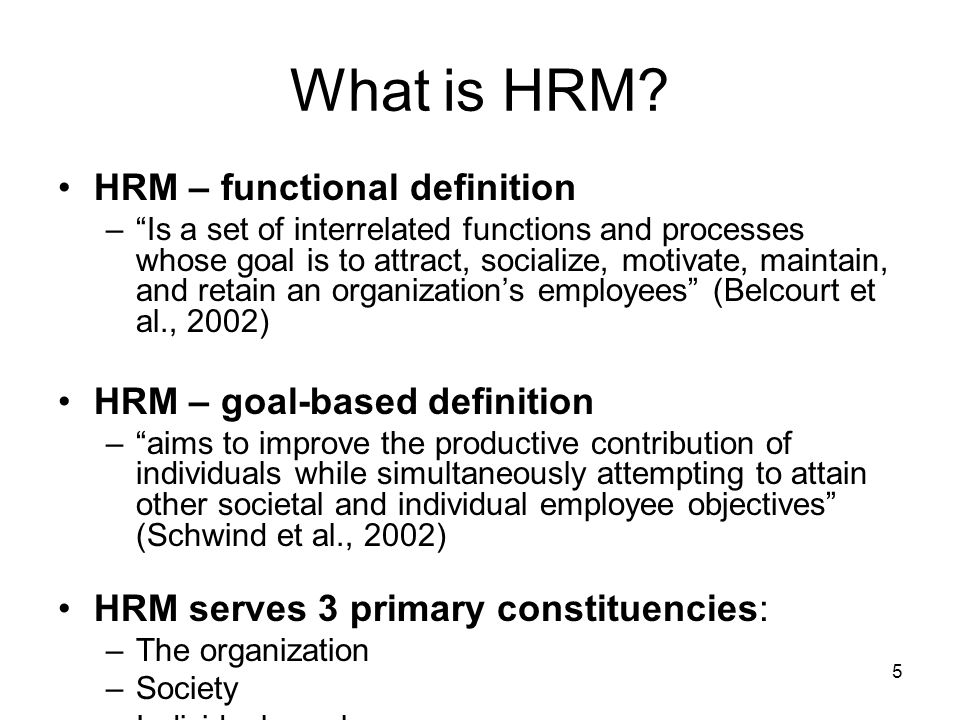 hrm term Hrm is originally an american management term that has taken over from the more restrictive 'personnel management', and denotes a more proactive and business-focused role, with an emphasis on good communication and staff commitment, more flexible work practices, and performance-related reward systems.