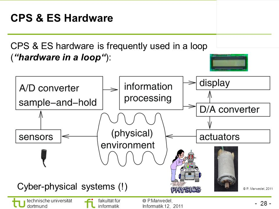 CPS & ES Hardware CPS & ES hardware is frequently used in a loop ( hardware in a loop ): Cyber-physical systems (!)