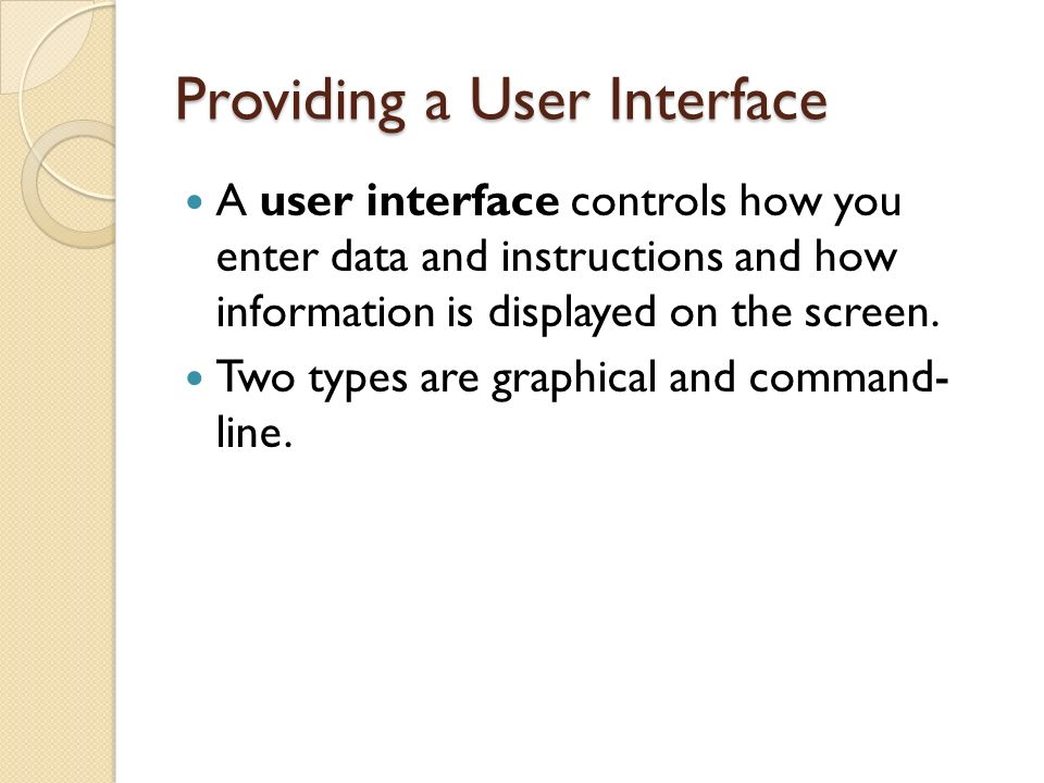 Providing a User Interface