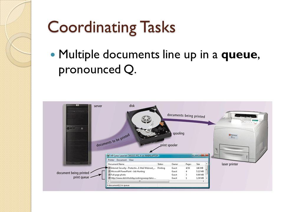 Coordinating Tasks Multiple documents line up in a queue, pronounced Q.