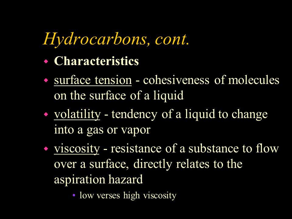 Hydrocarbons, cont. Characteristics
