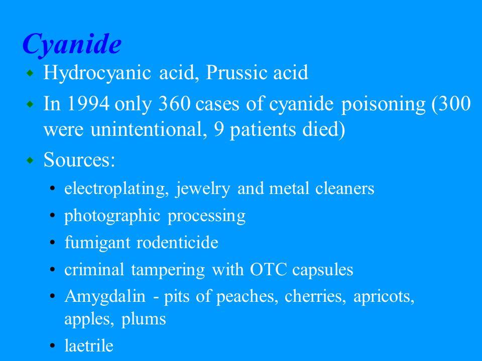 Cyanide Hydrocyanic acid, Prussic acid