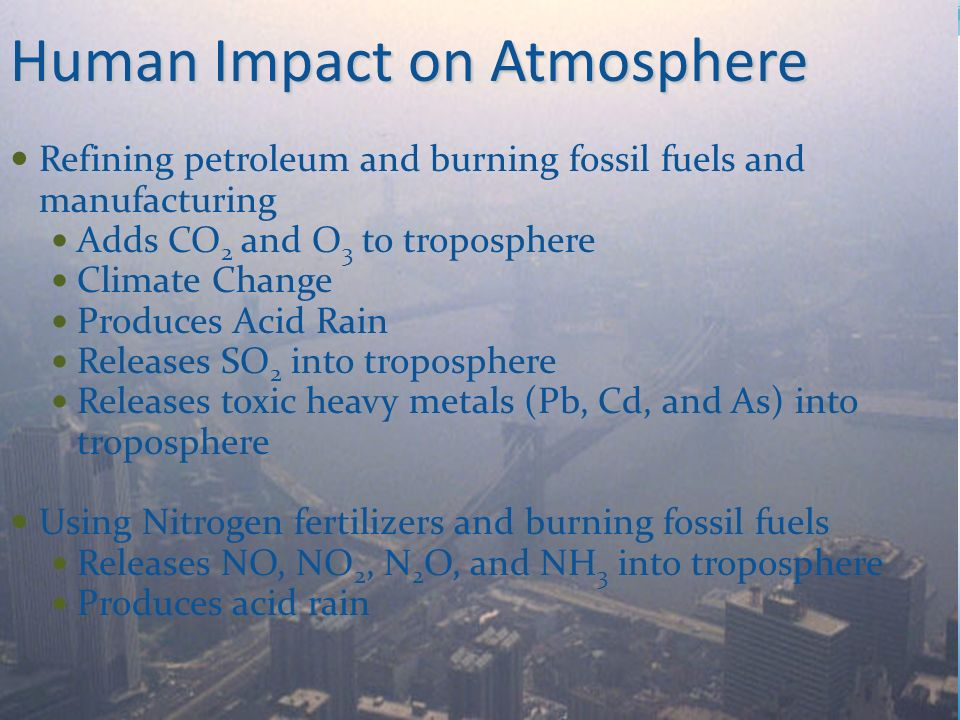 human impacts on the carbon nitrogen Human impact on the environment or anthropogenic impact on the environment includes changes to biophysical environments and ecosystems, biodiversity, and natural resources caused directly or indirectly by humans, including global warming, environmental degradation (such as ocean acidification), mass extinction and biodiversity loss, ecological crisis, and ecological collapse.