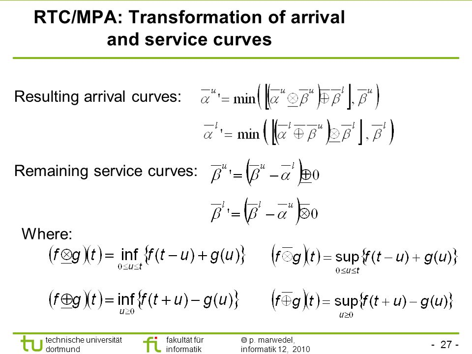 RTC/MPA: Transformation of arrival and service curves