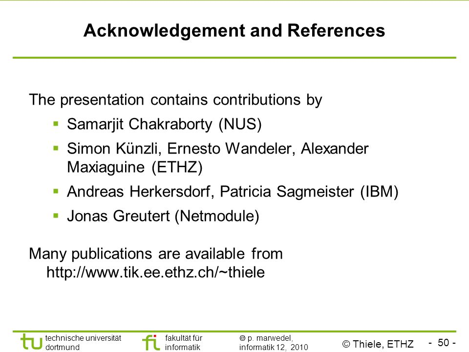 Acknowledgement and References