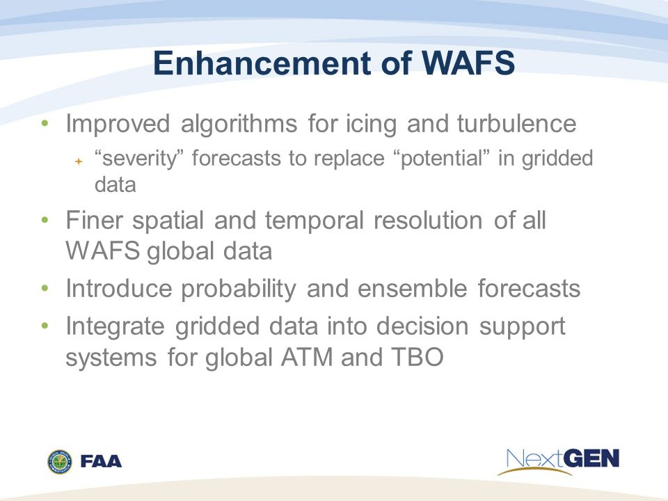 Enhancement of WAFS Improved algorithms for icing and turbulence