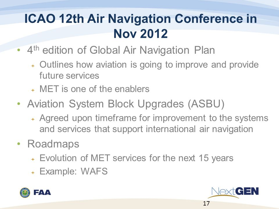 ICAO 12th Air Navigation Conference in Nov 2012