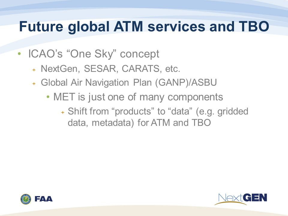 Future global ATM services and TBO