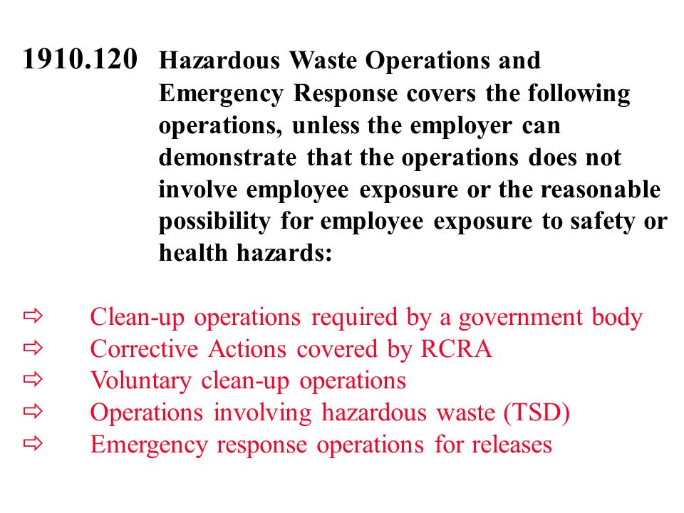 1910.120 Hazardous Waste Operations and