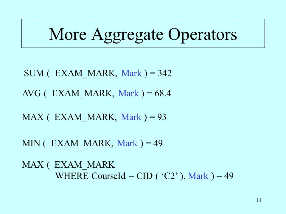 More Aggregate Operators