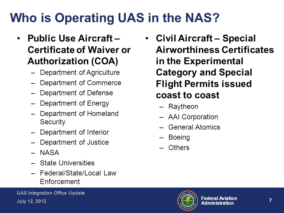 Faa Unmanned Aircraft Systems Uas Update Ppt Video Online Download