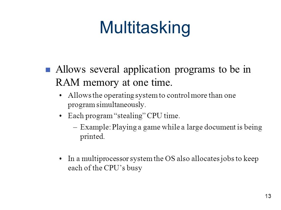 Multitasking Allows several application programs to be in RAM memory at one time.