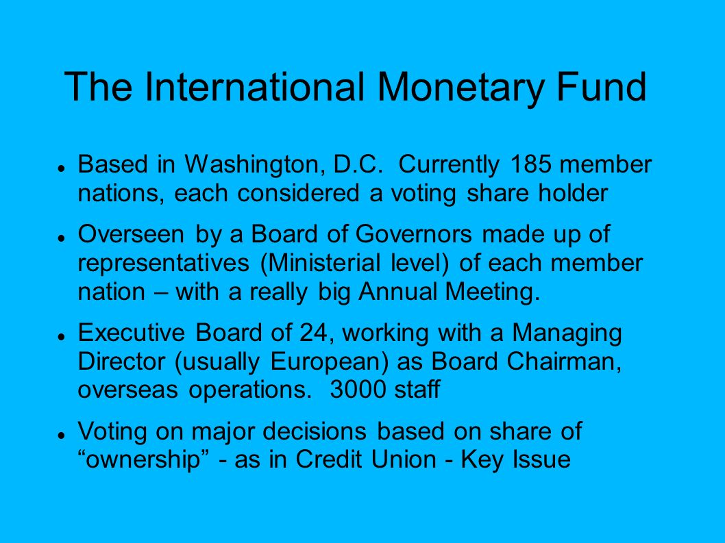 International financial institutions in the global economy ppt the international monetary fund sciox Images