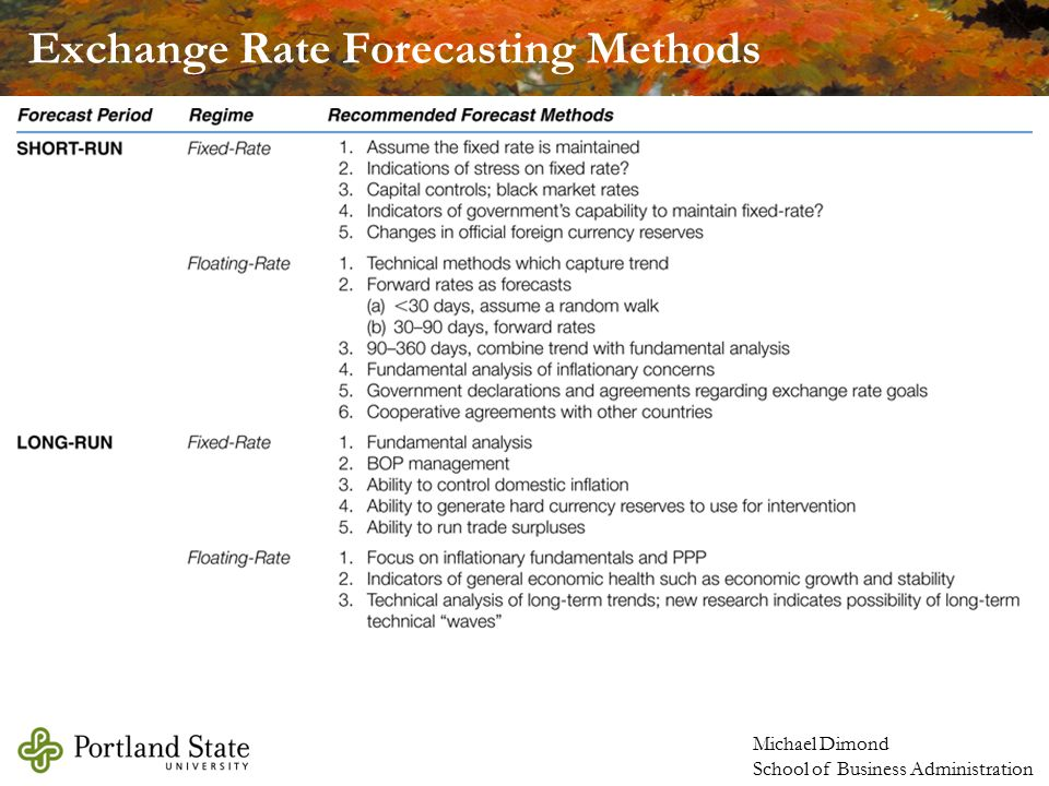 Exchange Rate Forecast: Models