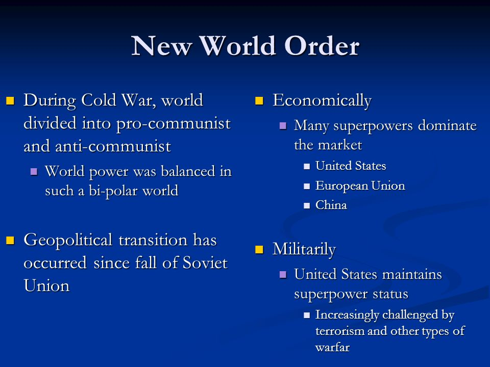the bi polar world order essay The theories of the new world order print reference if you are the original writer of this essay and no longer wish to have the essay published on the uk.