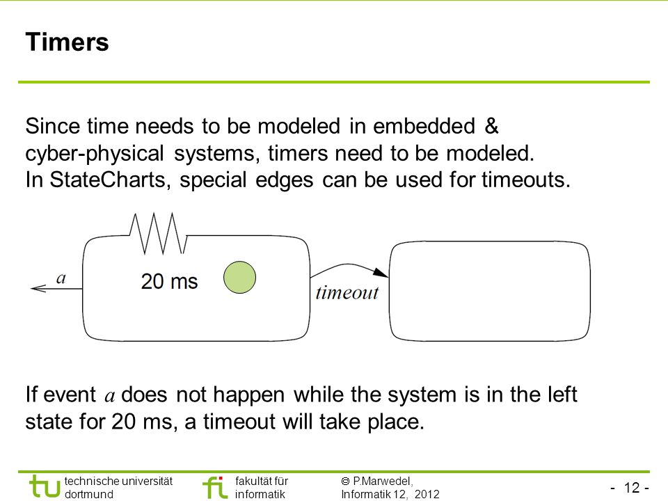 Timers Since time needs to be modeled in embedded &