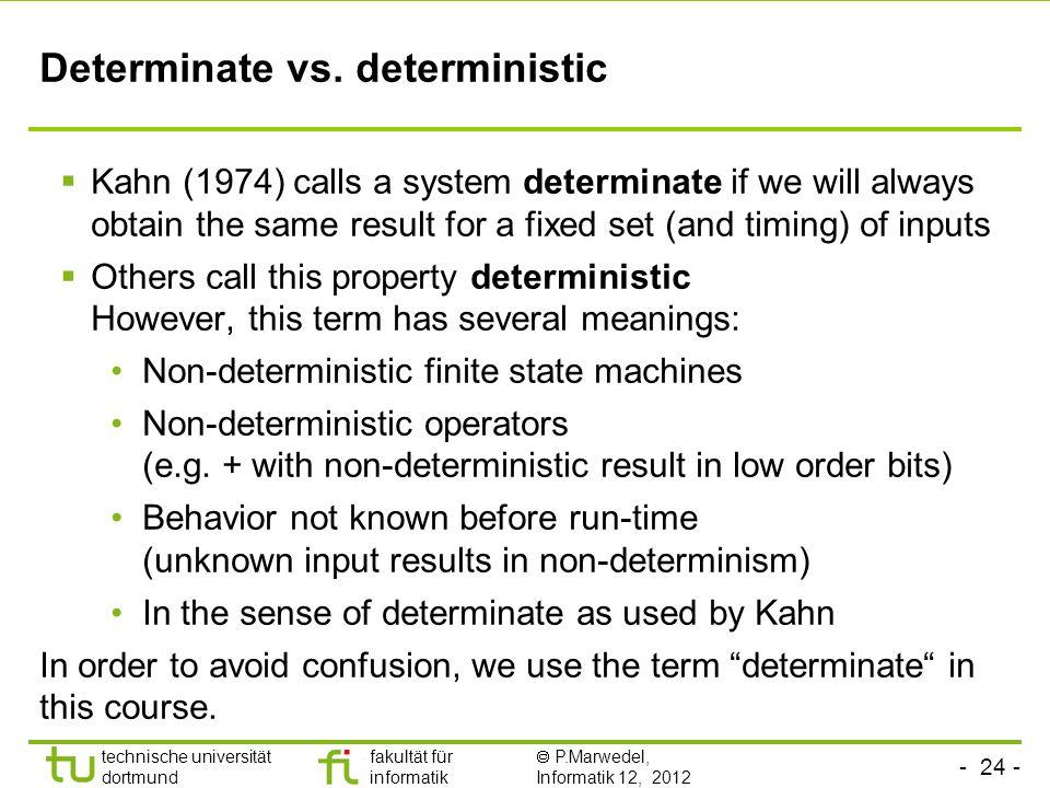 Determinate vs. deterministic
