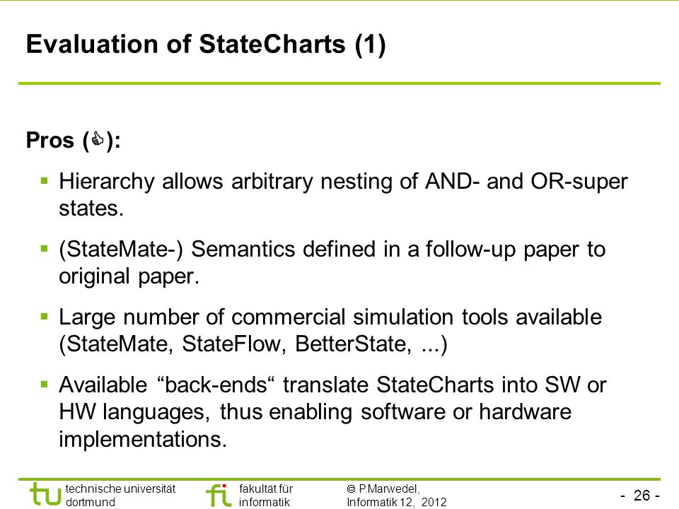 Evaluation of StateCharts (1)