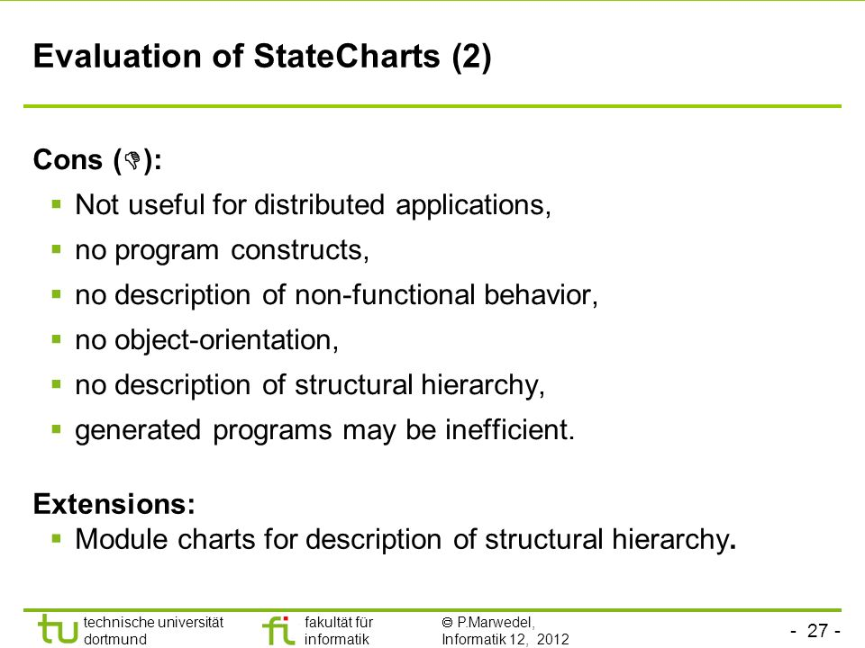 Evaluation of StateCharts (2)