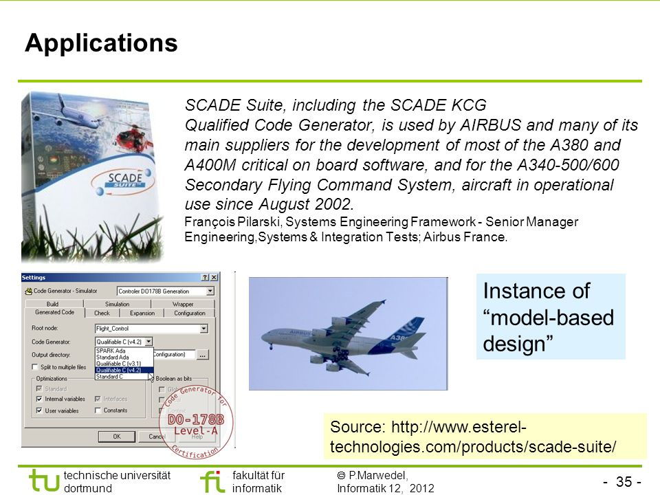 Applications Instance of model-based design