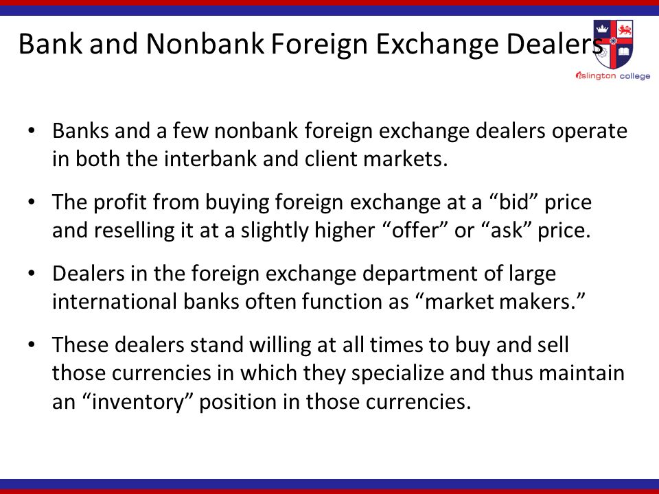 Foreign exchange functions of commercial banks