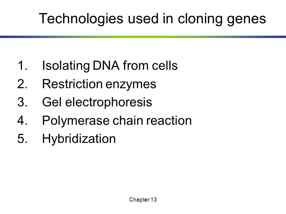 Technologies used in cloning genes