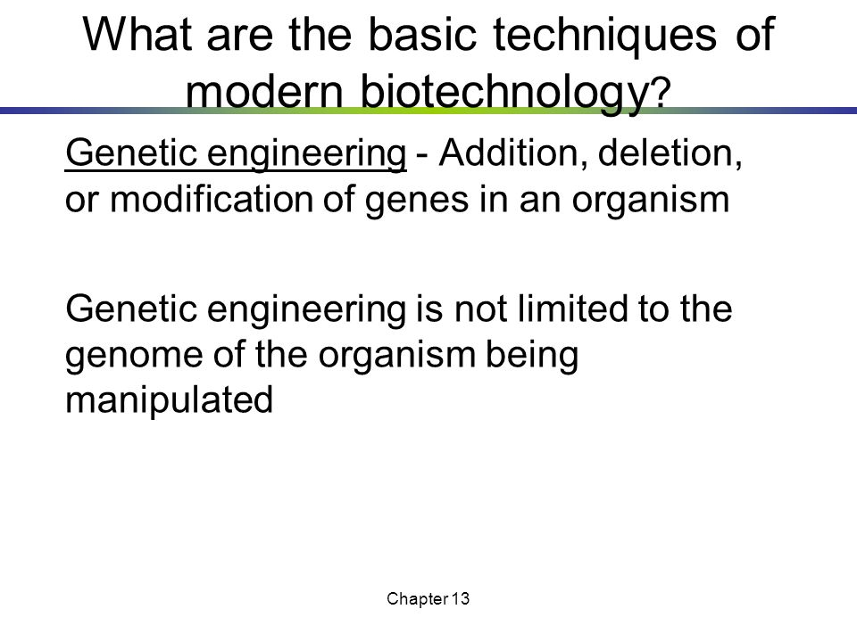 What are the basic techniques of modern biotechnology