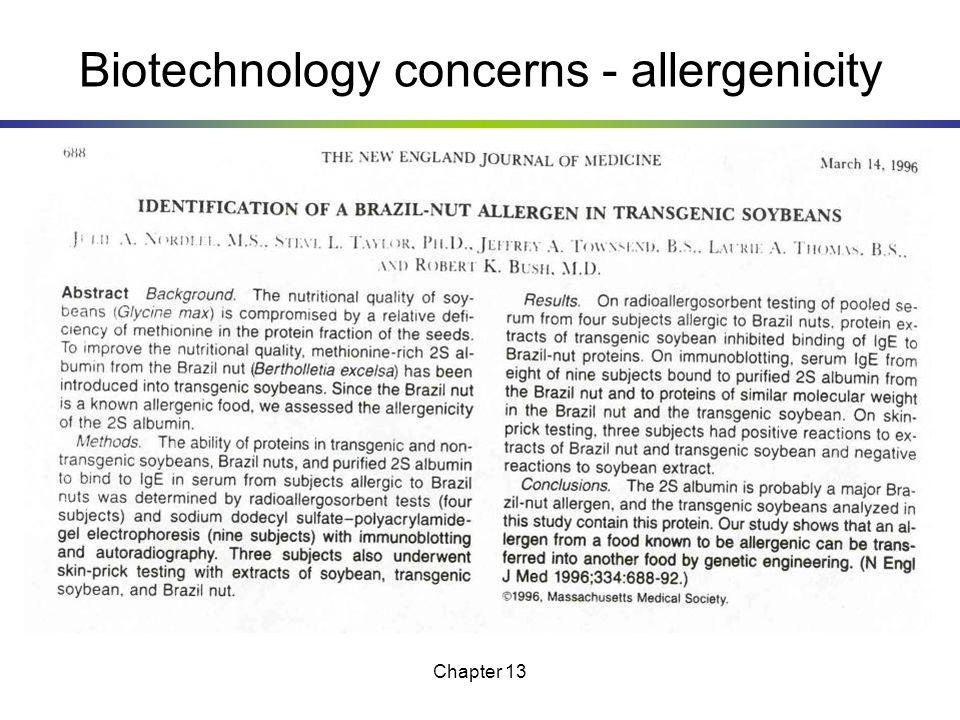 Biotechnology concerns - allergenicity