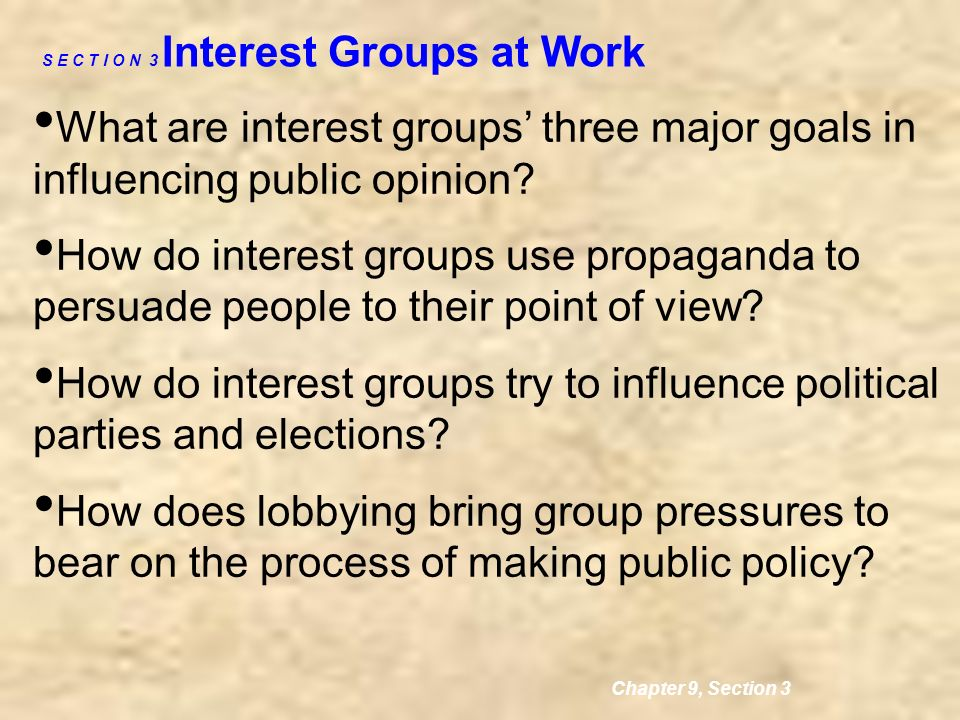 an analysis of the political parties goal and interest group goals Using the core learning goals: government  goal 1: political systems  111  the student will analyze historic documents to determine the basic principles   political parties, interest groups, lobbyists, candidates, citizens, and the impact of .