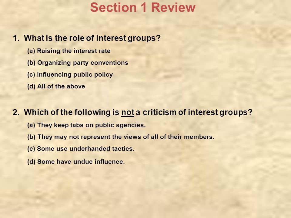 role of interest groups in law Pendleton herring who discusses the role of interest groups in government in the selection following truman whatever may be the state of interest group theory , special interests are alive and well in the political process.