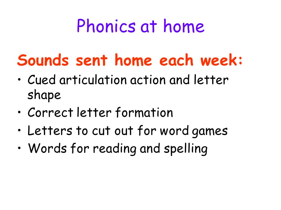 Phonics at home Sounds sent home each week: