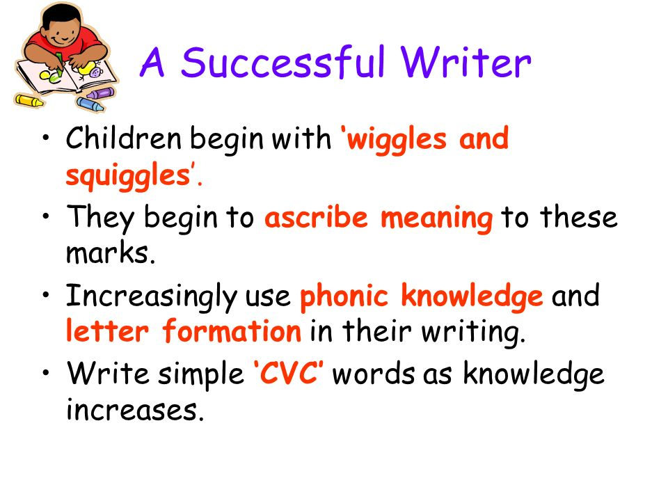 A Successful Writer Children begin with 'wiggles and squiggles'.