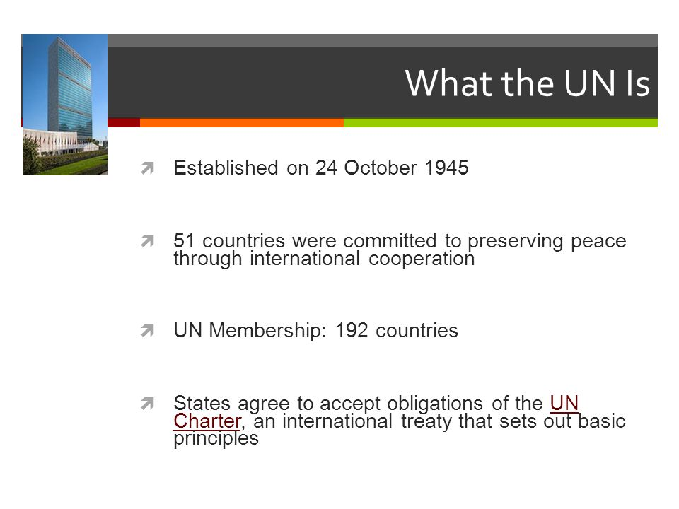 What the UN Is Established on 24 October 1945